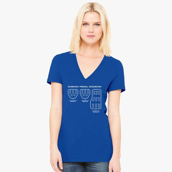 Subaru Pedal Diagram Women S V Neck T Shirt Customon Com
