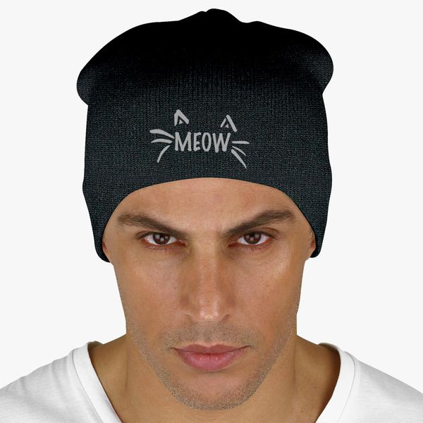 Meow Knit Beanie - Embroidery +more 0689a8dc9a6