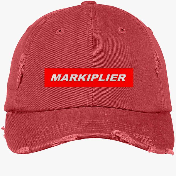 markiplier red box Distressed Cotton Twill Cap (Embroidered ... aecec290bb1b