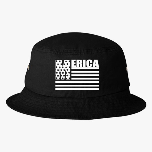 59fe372aa30 Merica Stars And Stripes Cool United States Of America Flag Bucket Hat -  Embroidery +more