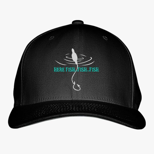 Here Fishy Fishy Go Fishing Baseball Cap (Embroidered)  b97ef10ddfd