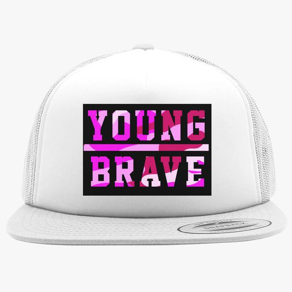60df8552b6e YOUNG BRAVE - CAMO PINK Foam Trucker Hat +more