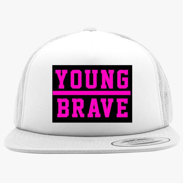 6dcf2fb6161 YOUNG BRAVE - PINK Foam Trucker Hat +more