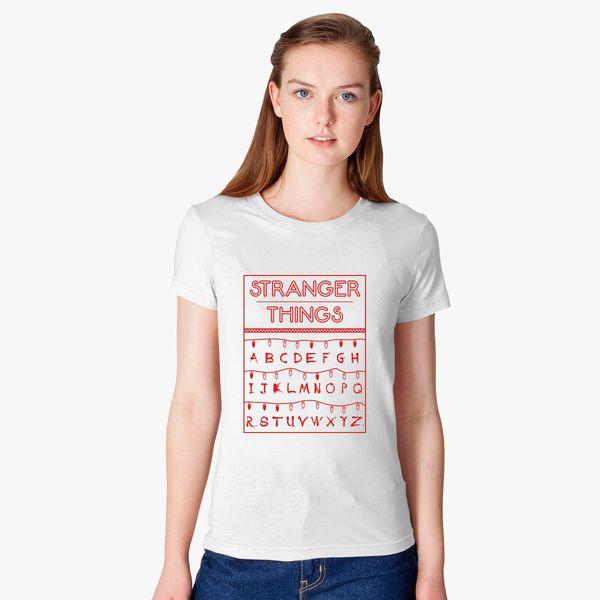 Stranger Things Alphabet Red Womens T Shirt Customoncom