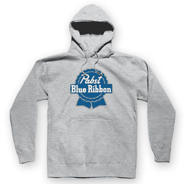 Pabst Blue Ribbon Unisex Hoodie Gray / S