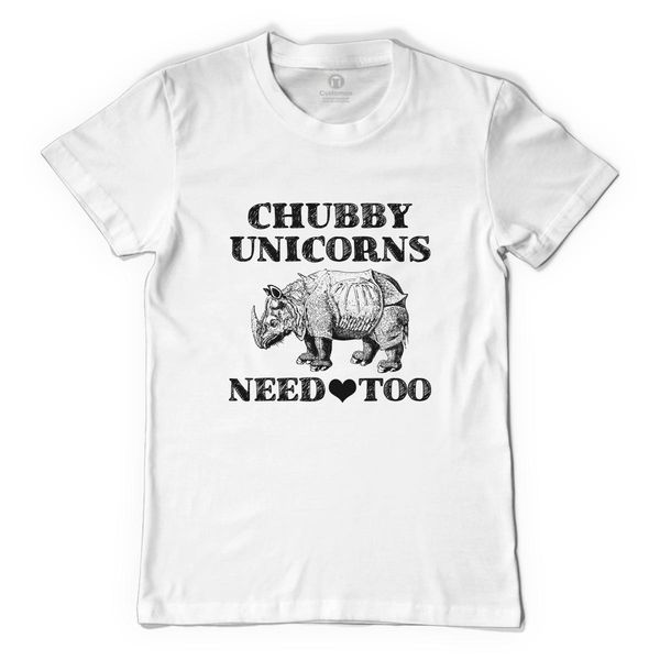 Chubby Unicorns Need Love Too Men's T-Shirt White / S
