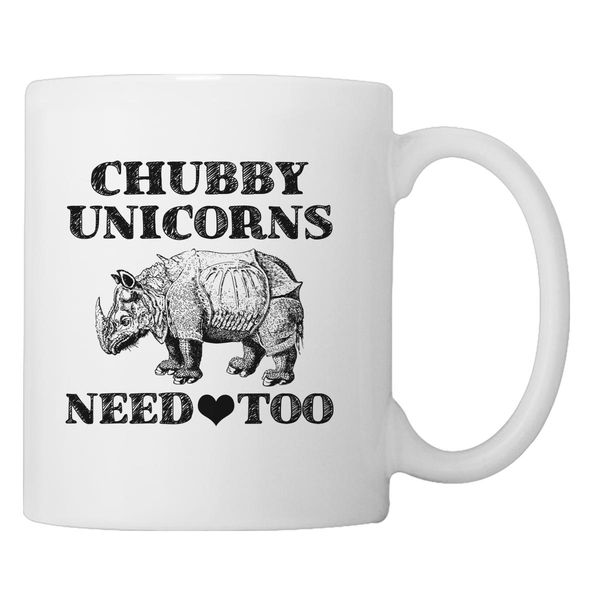 Chubby Unicorns Need Love Too Coffee Mug White / One Size