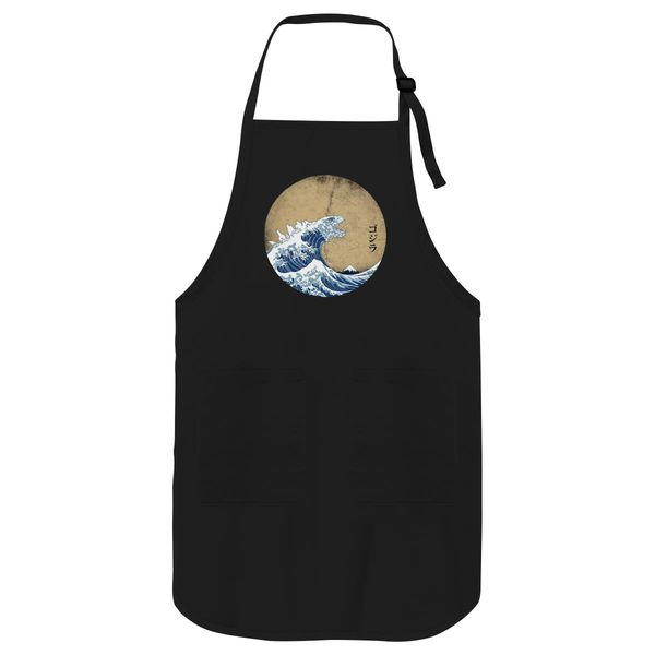 Hokusai Kaiju - Vintage Version Apron Black / One Size