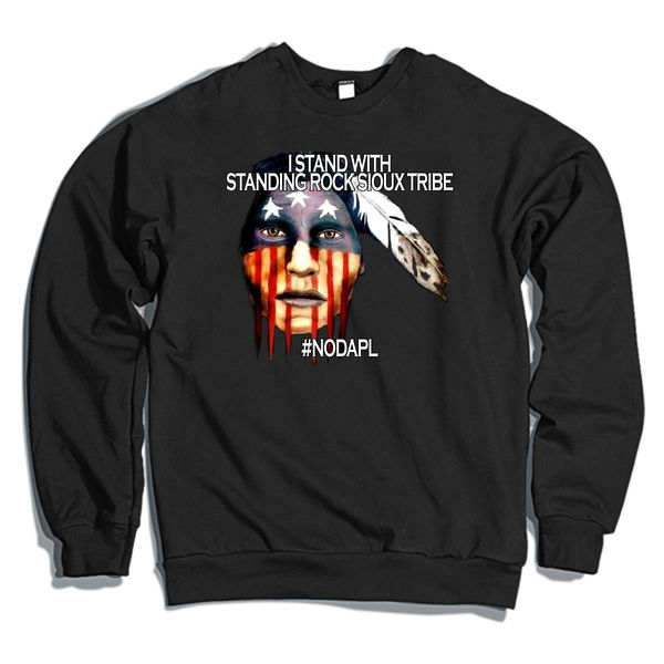 I Stand With Standing Rock Crewneck Sweatshirt Black / S