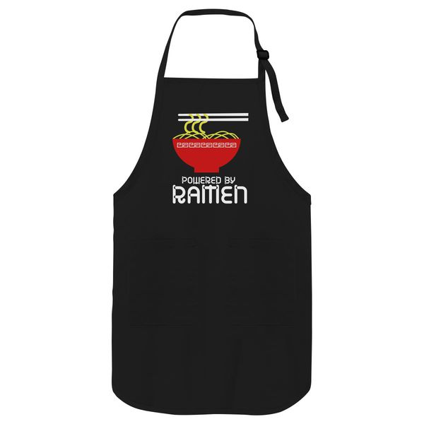Funny Powered By Ramen Apron Black / One Size